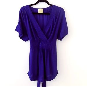 ANTHROPOLOGIE Royal Blue Kimono Style Top